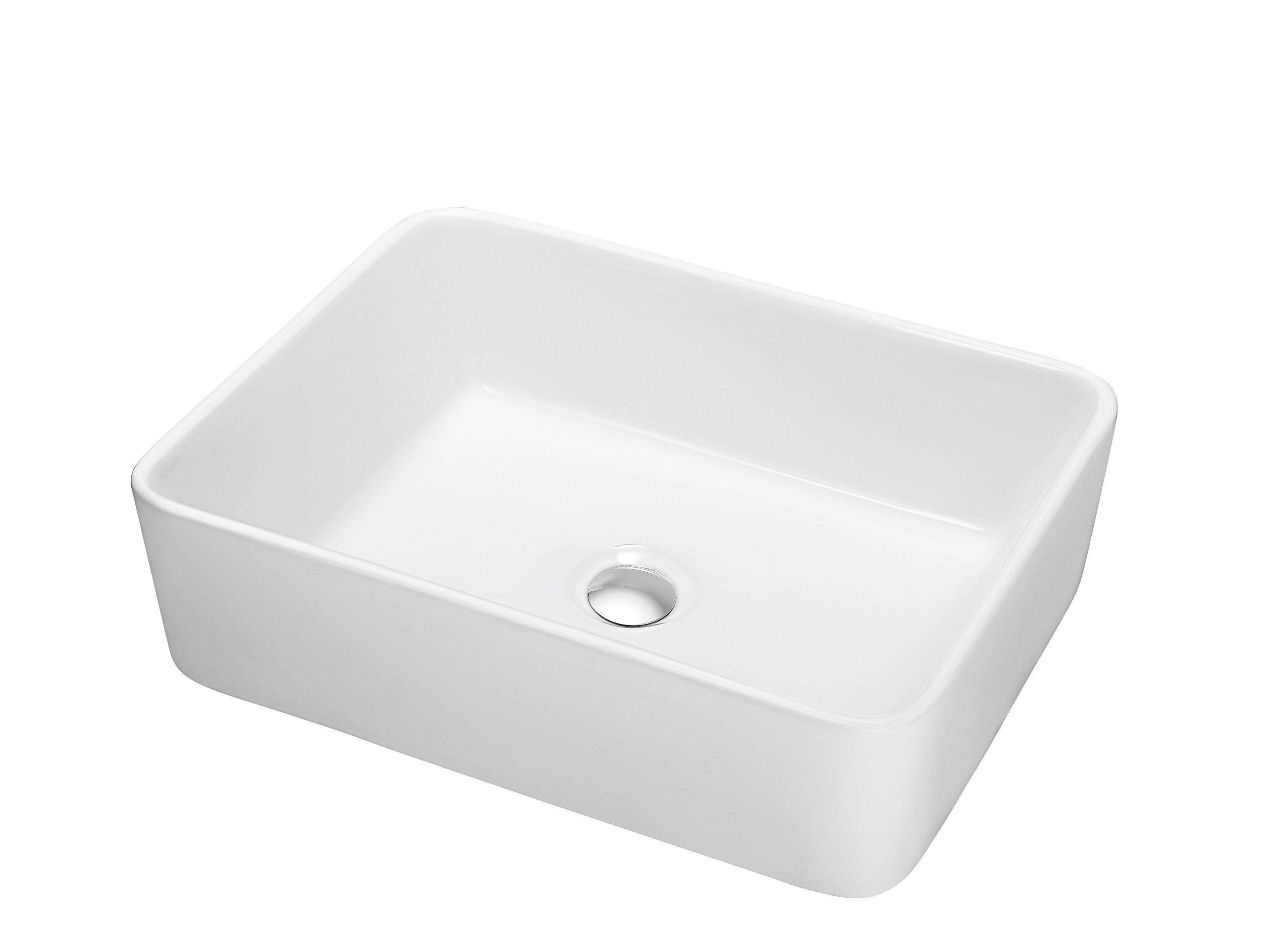 Contemporary Vessel Above-Counter Rectangle Ceramic Art Basin, White
