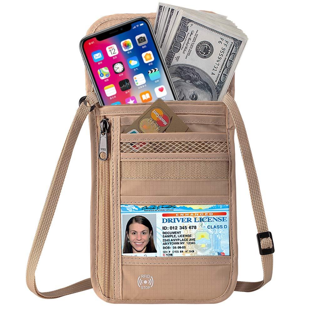 Defway Travel Wallet RFID Blocking Hidden Money Pouch /& Neck Passport Holder
