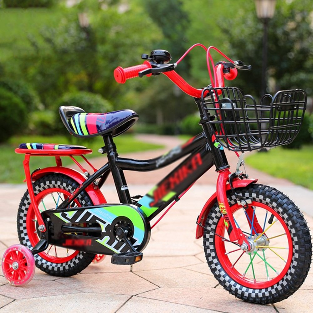 YANGFEI 子ども用自転車 子供用の自転車、トレーニングホイール付きユニセックス子供用自転車、様々なトレンディな機能、12,14,16および18インチ、おしゃれな男の子と女の子のための贈り物 212歳 B07DWWKWLW赤 18 inches