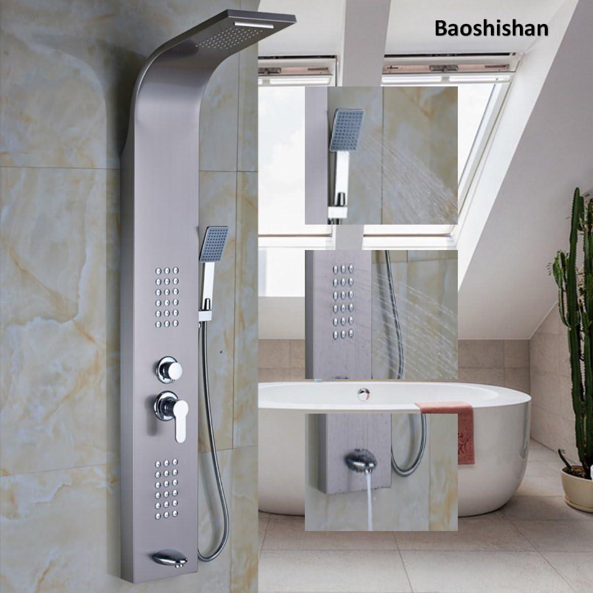 Perchero de pared Panel de ducha de baño único mango cuerpo masaje Jets columna de ducha grifo con ducha de mano: Amazon.es: Bricolaje y herramientas