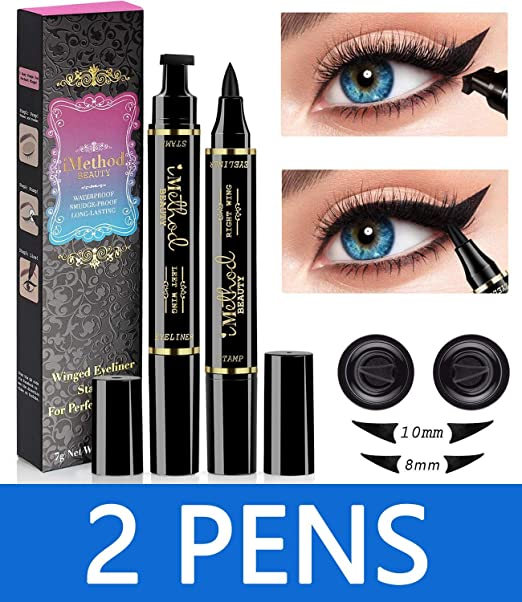 iMethod Wing Eyeliner Stamp - 2 Pens Left & Right Dual Ended Liquid Winged Eye Liner Pen, Perfect Winged Cat Eye Look, Waterproof, Smudgeproof and Sweatproof, Vamp Style Wing, No Dipping Required best eyeshadow stamp