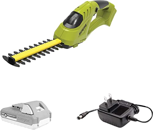 Sun Joe 24V-SSEG-LTE 24-Volt Cordless Handheld Shrubber Trimmer, Kit w 2.0 Ah Battery Quick Charger