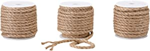 Burlap String,3 Rolls/90 Feet, Natural Jute Twine Perfect for Gifts Packing and Decor by FELIZEST (5mm)