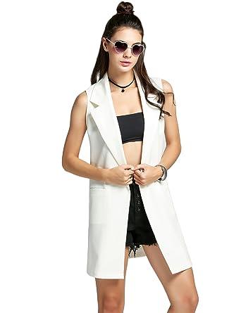 0aeba0c321 Amazon | ウィメン ベスト トレンチコート ポケット付き ノースリーブ 無地 カジュアル ロング スーツ コート ウエストコート カーディガン  | レインウェア 通販