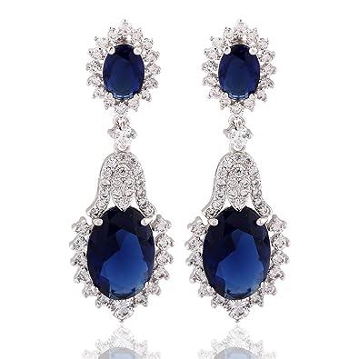 177192e40 Amazon.com: GULICX Vintage Design Long Luxury Oval CZ Stone Silver Tone Blue  -Sapphire Color Drop Earrings: Jewelry