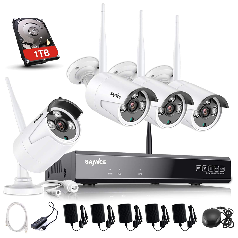 SANNCE Kit de Videovigilancia Inalámbrica 1080P NVR WiFi y 4 Cámaras de Seguridad (Onvif H.264 CCTV 8CH NVR y 4 cámaras 1.3MP)-1TB Disco Duro de ...