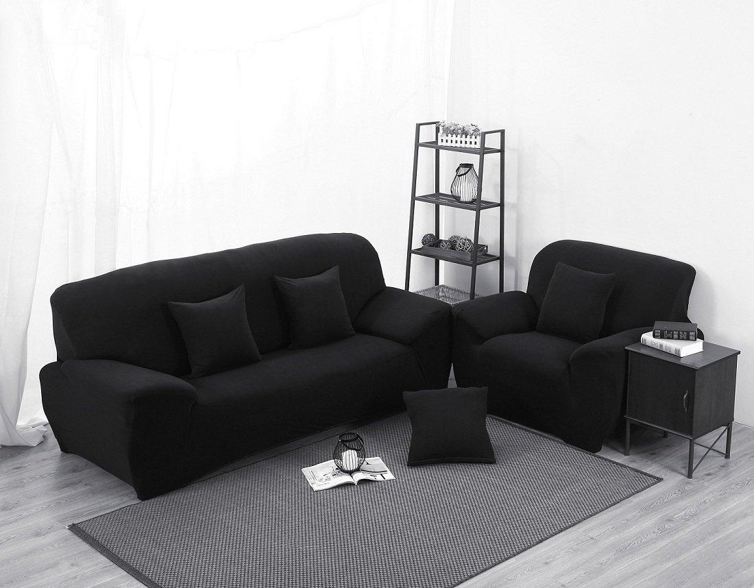 Beddingleer 2-teilig 3 Sitzer Sofaüberwurf Sofabezug Sesselbezug Sofahusse Easy Fit Elastischer Stoff Universal (190x230 cm Reine Schwarz)