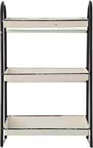 Creative Co-op Heavily Distressed 3-Tier Metal Tray with Black Frame & Rim, White