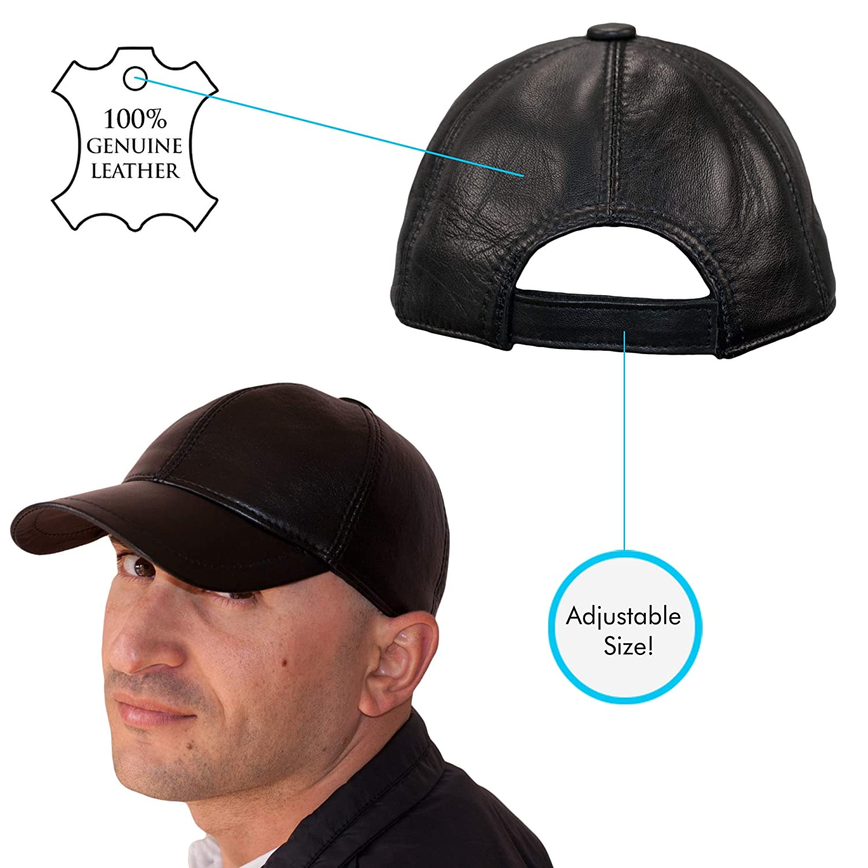 cdd9f6c974b Dazoriginal Leather Baseball Cap Genuine Leather Peak Hat Unisex Trucker  HipHop  Amazon.co.uk  Clothing