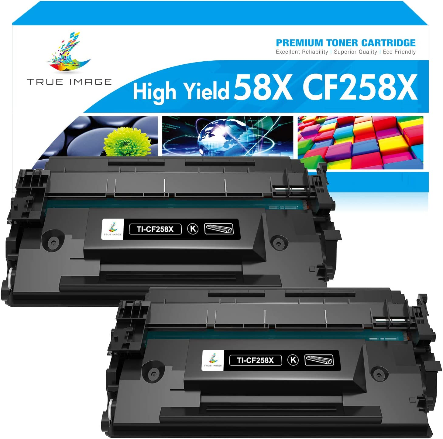 True Image Compatible Toner Cartridge Replacement for HP 58X 58A CF258A CF258X M428fdw HP Laserjet Pro M404n M404dn M404dw MFP M428fdn M428dw M304 M404 M428 Printer Toner (Black, 2-Pack)