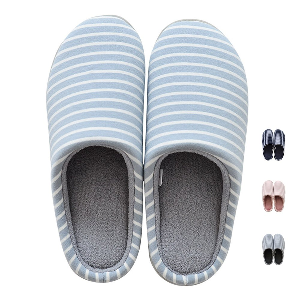 MAGILONA Women's Men's Stripe Soft Winter Warm Slippers Plush Lining Cotton Knitted Breathable NonSlip Indoor shoes MultiSize Sewing Edge (S 56.5B Light bluee)