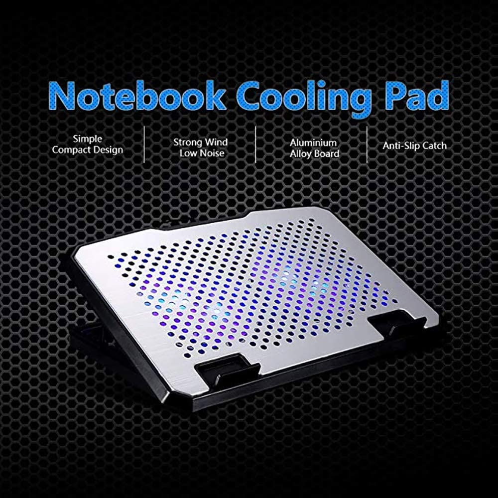 Multi-Angle Adjustment Aluminum Alloy Laptop Radiator HAJZF Notebook Cooler Lifting 2 Fan Cooling Base