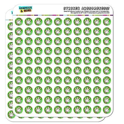 "Marijuana Pot Weed Leaf Green 0.5/"" Scrapbooking Crafting Stickers"