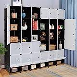 VINGLI Cube Storage Organizer, Plastic Closet Cabinet, DIY Plastic Modular Book Shelf Unit, Cube Shelves with Doors and Hangi