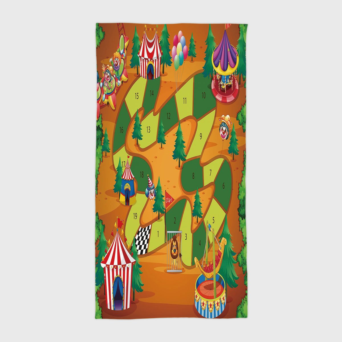 iPrint Cotton Microfiber Hotel SPA Beach Pool Bath Hand Towel,Board Game,Circus Themed Design Jokers Tents Balloons Trees Playful Joyous Cartoon Field,Multicolor,for Kids, Teens, and Adults