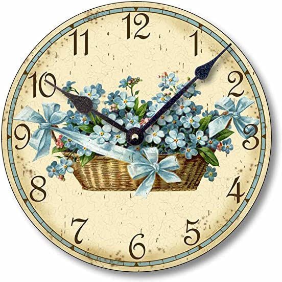 Fairy Freckles Studios Item C6015 Shabby Chic Victorian Style 10.5 Inch Forget Me Nots Clock