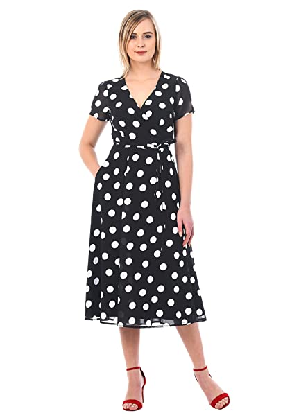 1940s Style Dresses | 40s Dress, Swing Dress eShakti Womens Polka Dot Print Georgette Wrap Dress $69.95 AT vintagedancer.com