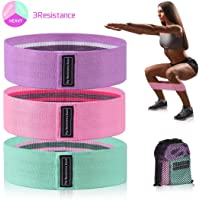Bandas Elásticas Fitness 3 Bandas de Resistencia para Yoga, Crossfit, Entrenamiento de Fuerza, Pilates, Fisioterapia Estiramientos Bandas Antideslizantes de Ejercicios para Fuerza de Piernas y Glúteos
