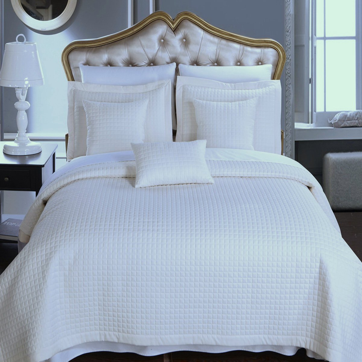 6pc Modern Solid Ivory Bedding Coverlet Quilt and Sham Set King/Cal King Size