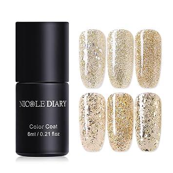 Nail Gel Nicole Diary 6ml Champagne Gold Series Gel Nail Polish Holo Stripe Glitter Soak Off Nail Art Uv Gel Polish 6 Colors