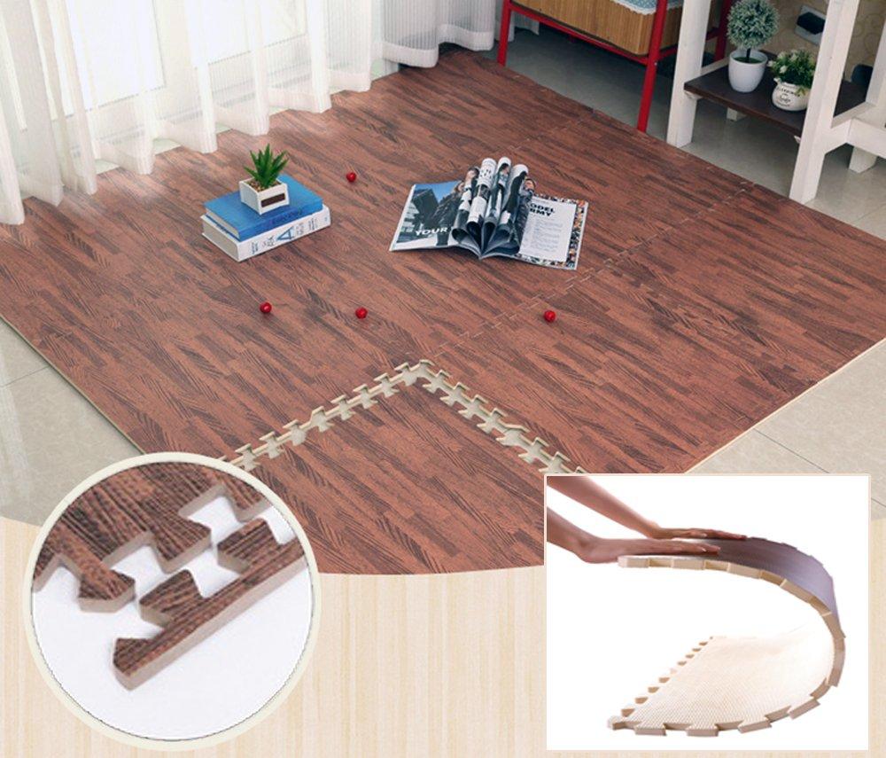 ❂ Rutschfeste Yoga Matte Schutzmatte in edler Laminat Optik Yogamatte Puzzlematte für Yoga oder Krabbelgruppe mit Abschlußleisten, 9 tlg. ❂ 9 tlg. ❂ Brigamo