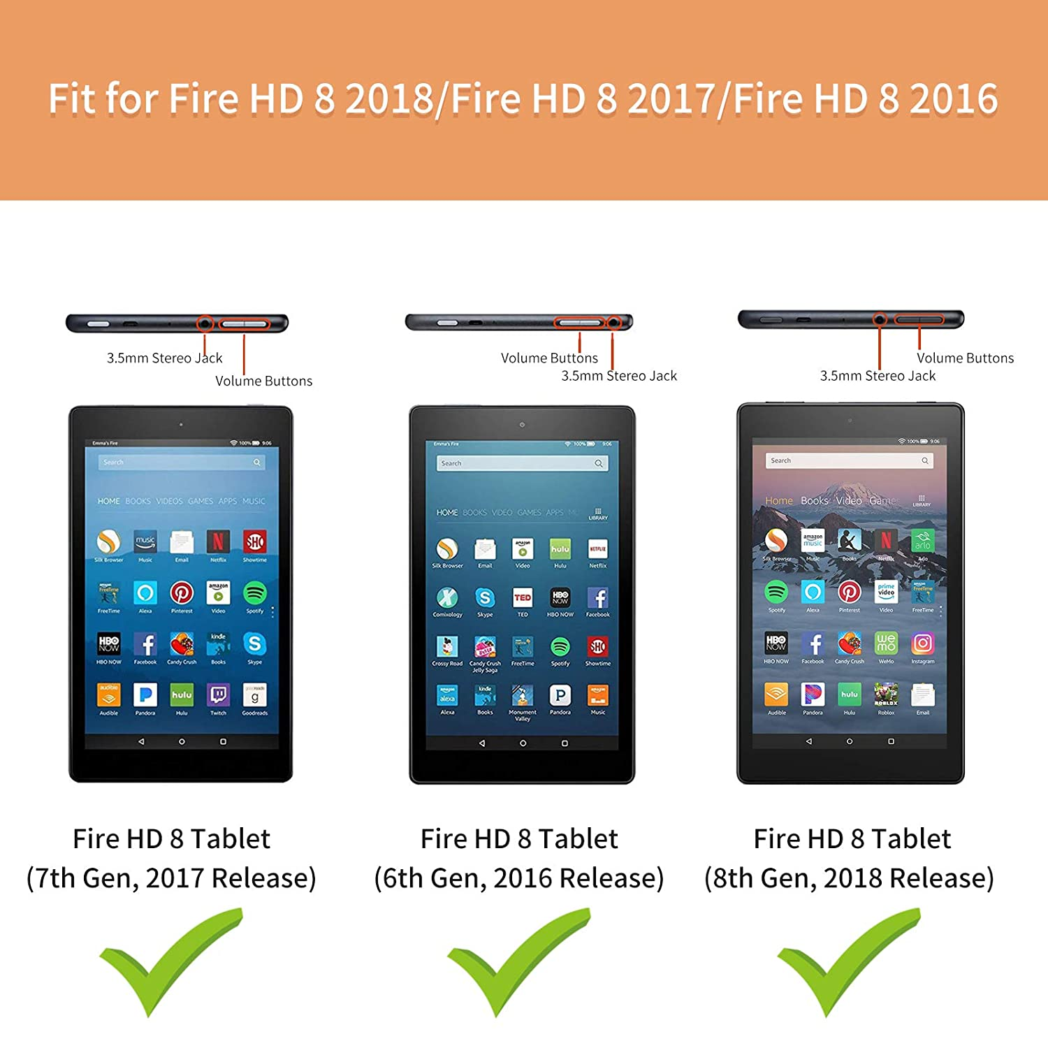 Slim Tri-fold Stand Cover Compatible with Fire HD 8 6th Gen, 2016 Release Black 8 Tablet 8th Gen, 2018 Release Infiland Fire HD 8 Case // Fire HD 8 7th Gen, 2017 Release // Fire HD 8