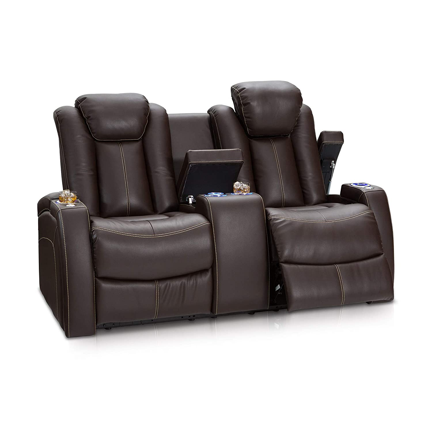 Seatcraft omega home theater seating leather gel power recline loveseat with adjustable powered headrests center storage console and lighted cup holders