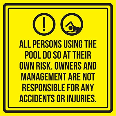 iCandy Products Inc All Persons Using The Pool Do So at Their Own Risk. Spa Warning Square Sign, Plastic - Inch, 12x12: Home & Kitchen