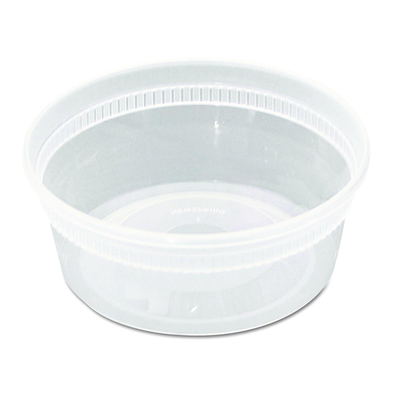 Pactiv 8 oz. DELItainer Plastic Freezer Food Storage Deli Soup Containers Tubs w/Lids (Pack of 240)
