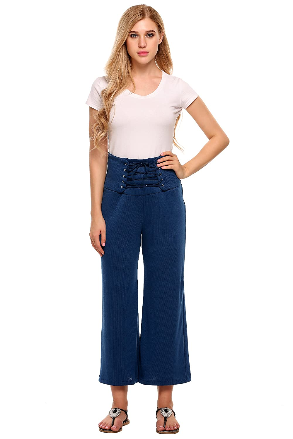Zeagoo Womens Elastic Waistband Chiffon Palazzo Pants with Pockets,Wide Leg Capri Culottes Pants
