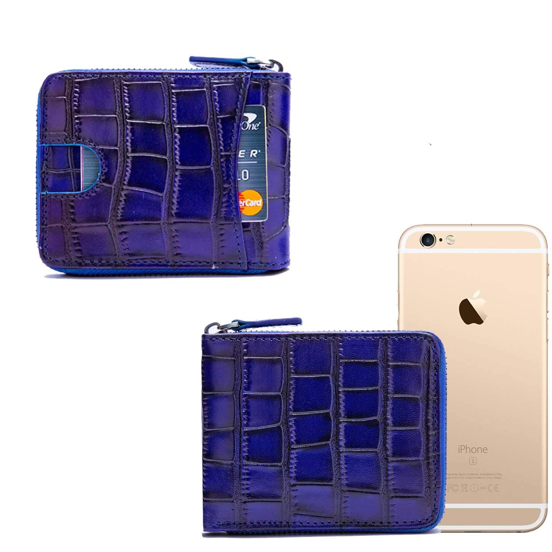 RFID Mens Leather Zipper wallet Zip Around Wallet Bifold Multi Card Holder Purse