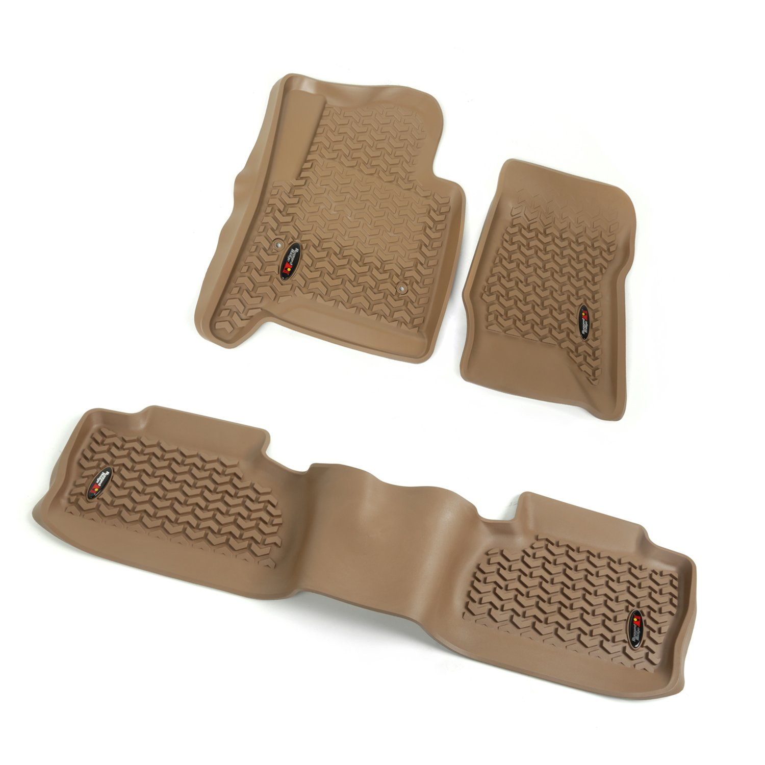 Rugged Ridge All-Terrain 83987.03 Tan Front and Rear Floor Liner Kit For Select Chevrolet Silverado and GMC Sierra Models