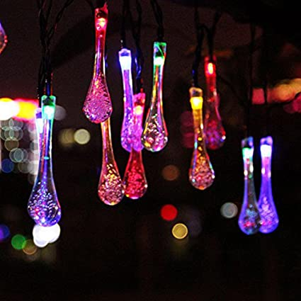 15ft 20 LED Solar Christmas Lights Outdoor Garden String Light Waterproof Tear Drop Style for & Amazon.com : 15ft 20 LED Solar Christmas Lights Outdoor Garden ...