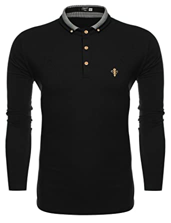 Coofandy Men's Long Sleeve Golf Casual Polo Shirts Black Small
