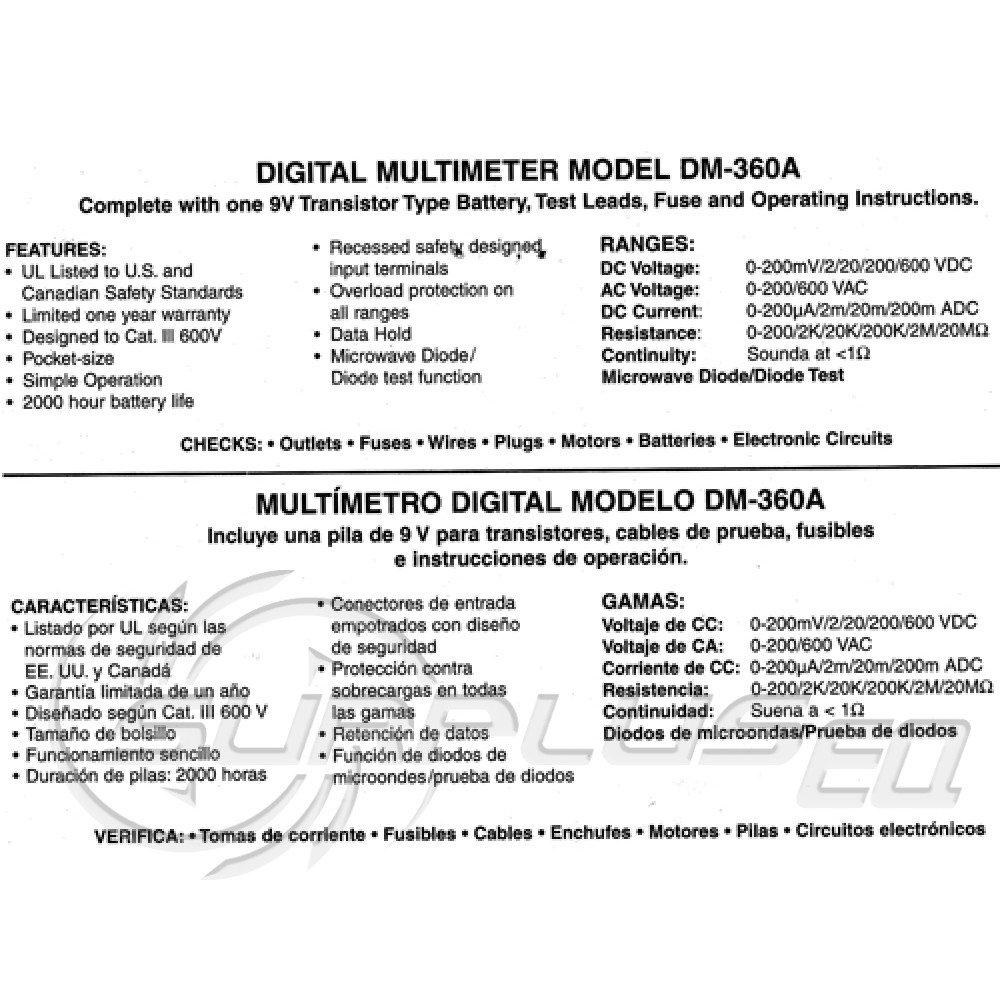 AW Sperry DM-360A 2 7 Function Digital Meter/Multimeter