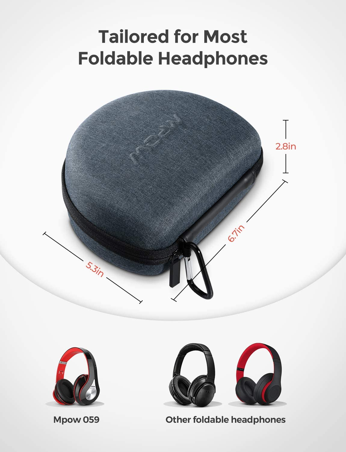 Mpow Headphone Carrying Case Grey Zipper Carrying Hard Case Cover for Foldable Headsets /& Mini Items Storage Bag Pouch for Foldable Headphones