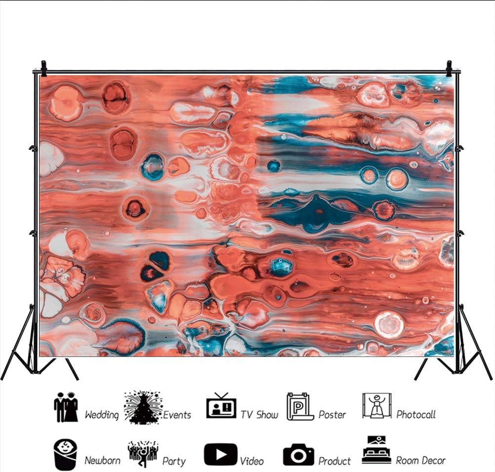 YEELE Marble Color Photography Backdrop Red and White Abstract Fluid Art Artistic Portrait Background Wedding Birthday Party Western Geographical Theme Photoshoot Prop Photo Booth Wallpaper 10x8ft