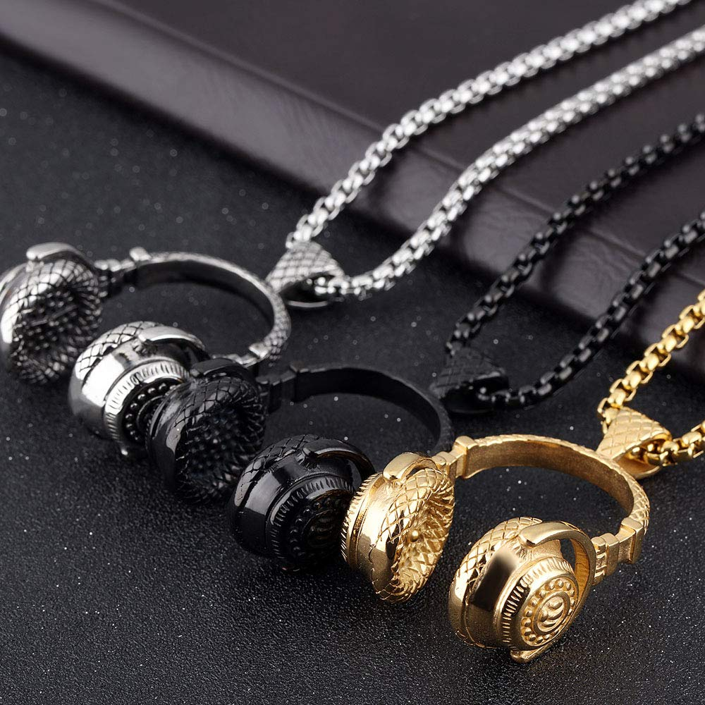 Metal Color: Gold Necklace Davitu Hip Hop Jewelry Men Necklace Stainless Steel Music Headphone Pendant Necklaces 2018 Fashion Cool Gifts Mens Jewellery Collier