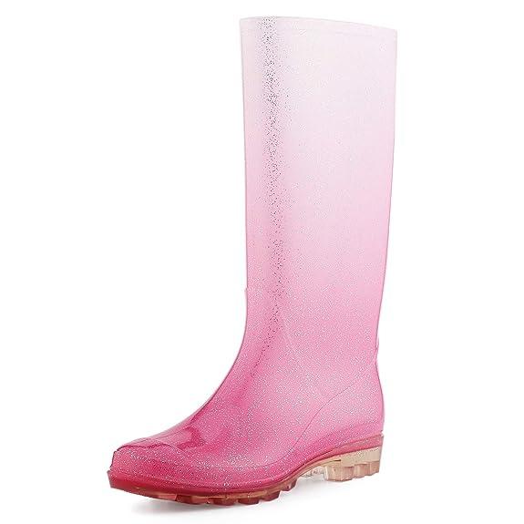 KomForme Women' s Knee High Waterproof Rain Boots Glitter, Matte and Gradient best women's rainboots