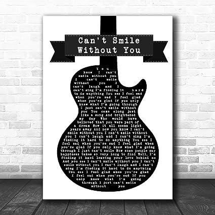 Cant Smile Without You - Letra, diseño de guitarra, color blanco ...