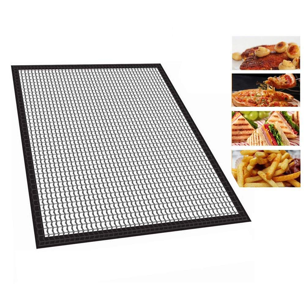 Grill Mesh Mat 2 Pack Teflon Crispy Baking Mats Sheet Vinmax Quick Oven Liners Dehydrator Sheets Perforated Toaster Meshes BBQ Tool Fish and Vegetable Mat That Allows Smoke to Pass Through Non-Stick -
