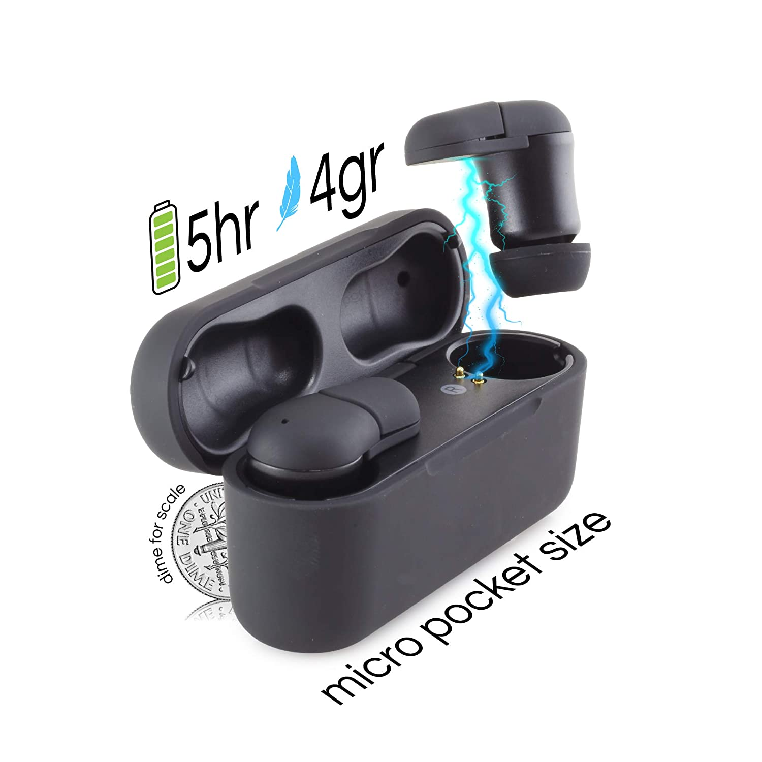 Aero True Wireless Bluetooth 5.0 Earbuds – Built in Mic -Mini Compact TWS Ear Pods – Premium Audio Quality -Simple Pairing- Ultra Portable Charging Case for 15 Hours Play Time- Happiness Guarantee