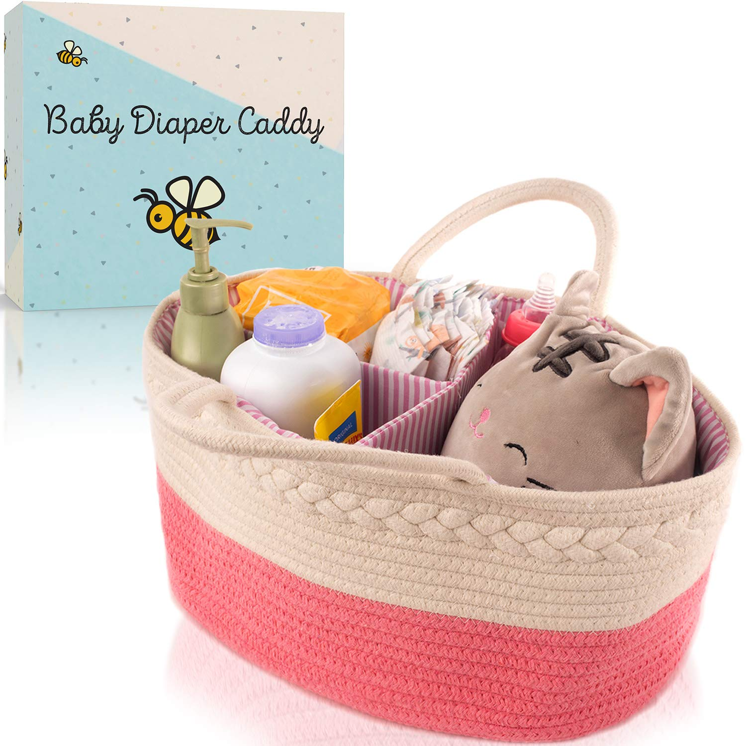Modern Domus Baby Diaper Caddy Organizer for Changing Table or on The Go! Pink and White Rope Baby Basket with Removable Inserts to for Baby Diapers Storage and More! Original Baby Shower Gifts by Modern Domus