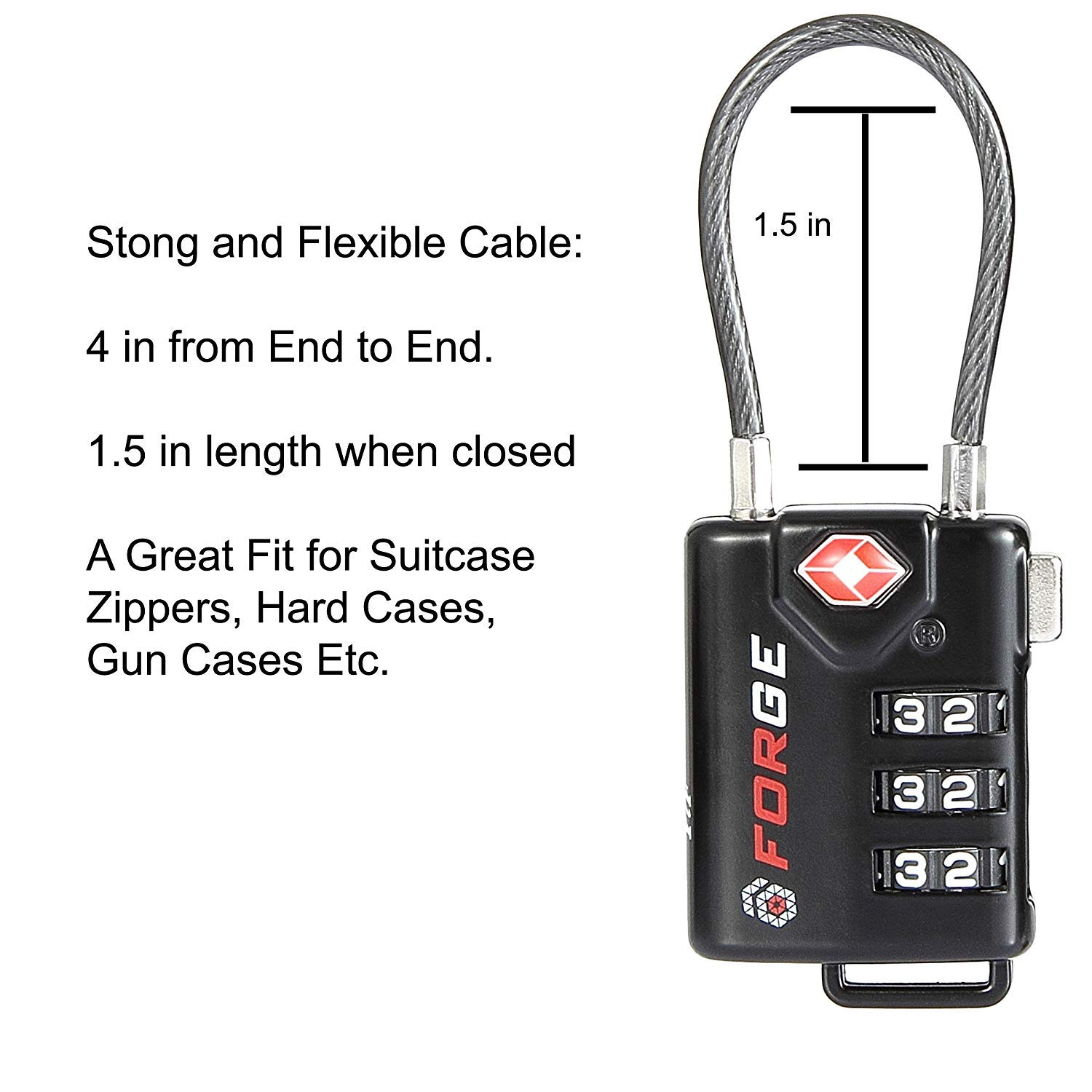 Re-settable Combination with Alloy Body TSA Approved Cable Luggage Locks