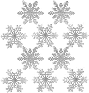 """BANBERRY DESIGNS Large Snowflakes - Set of 10 Silver Glittered Snowflakes - Christmas Snowflake Ornaments Approximately 12"""" D - Snowflake Decorations"""