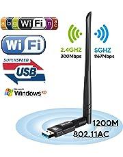 Clé Wifi 1200Mbps USB Wlan Adaptateur Sans Fil AC Dual Band (2.4G/300Mbps+5.8G/867Mbps), USB Wireless Wlan Stick avec Antenne Jack et Antenne Détachable pour Win 10/ 8.1/8/7/XP/Vista MAC OS
