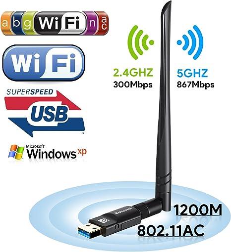 Boluomi USB 1200Mbps Wifi Adaptador 5dBi Antena Wifi USB ...
