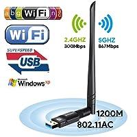 1200Mbit/s USB Wifi Adapter,AC Dualband wireless Adapter (2.4G/300Mbps+5.8G/867Mbps),Boluomi Wlan Stick mit Antennenbuchse und abnehmbarer Antenne für Win 10/8.1/8/7/XP/Vista (32/64bits) MAC OS