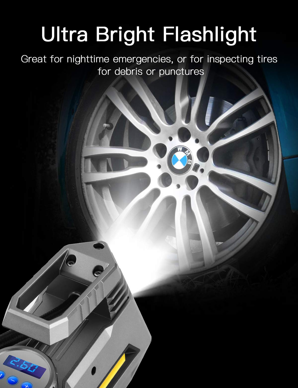 JOYROOM Portable Air Compressor Tire Inflator - Car Tire Pump with Digital Pressure Gauge (150 PSI 12V DC), Bright Emergency Flashlight - for Auto, Trucks, Bicycles, Balls by JOYROOM (Image #4)