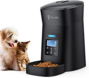 TSYMO Automatic Cat Feeder - 1-6 Meals Auto Dog Food Dispenser with Anti-Clog Design, Timer Programmable, Voice Recording & Portion Control for Small & Medium Pets 4L